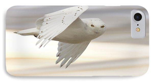 Snowy Owl In Flight Phone Case by Mark Duffy