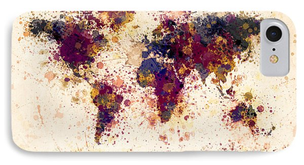 World Map Paint Splashes IPhone Case