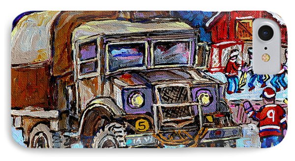 50's Dodge Truck Red Wood Barn Outdoor Hockey Rink  Art Canadian Winter Landscape Painting C Spandau IPhone Case