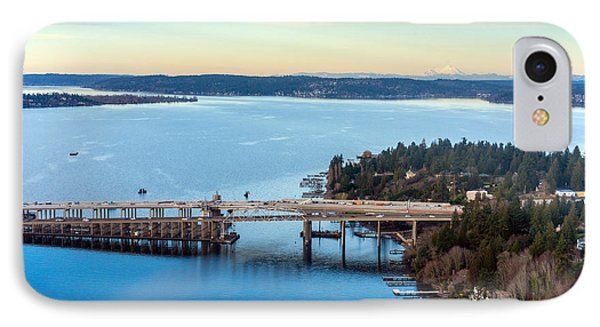 520 Bridge And Mount Baker IPhone Case by Mike Reid