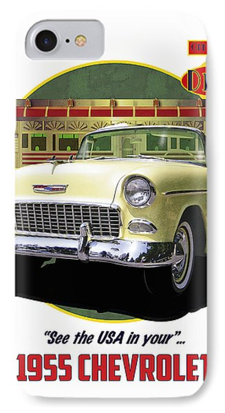 IPhone Case featuring the drawing 55 Chevy by Kenneth De Tore