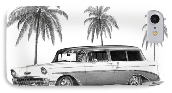 56 Chevy Wagon Phone Case by Peter Piatt