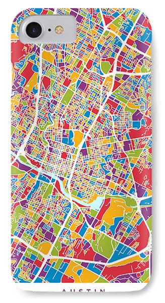 Austin iPhone 7 Case - Austin Texas City Map by Michael Tompsett
