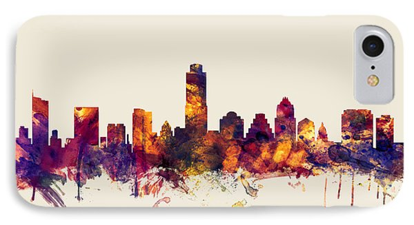 Austin Texas Skyline IPhone Case by Michael Tompsett