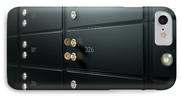 Black Safe Deposit Box Wall IPhone Case by Allan Swart