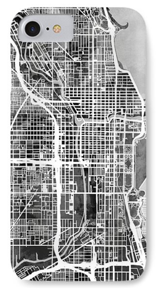 Chicago City Street Map IPhone Case