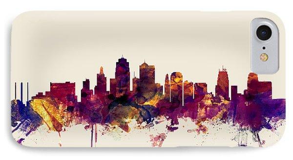 Kansas City Skyline IPhone Case by Michael Tompsett