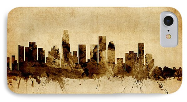 Los Angeles California Skyline IPhone Case by Michael Tompsett