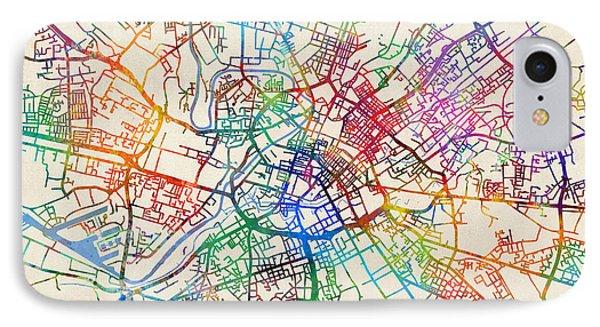 Manchester England Street Map IPhone Case by Michael Tompsett