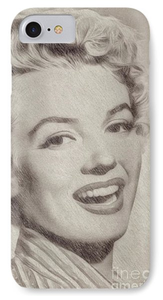 Marilyn Monroe Vintage Hollywood Actress IPhone Case by Frank Falcon