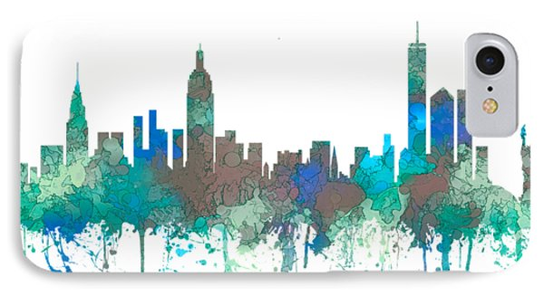 IPhone Case featuring the digital art New York Ny Skyline by Marlene Watson