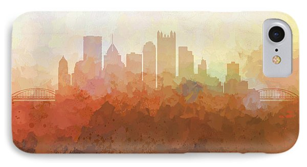 IPhone Case featuring the digital art Pittsburgh Pennsylvania Skyline by Marlene Watson