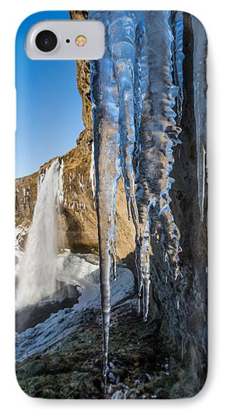 Seljalandsfoss Waterfall In The Winter IPhone Case by Panoramic Images