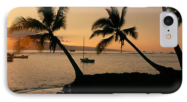 Silhouette Of Palm Trees At Dusk IPhone Case by Panoramic Images