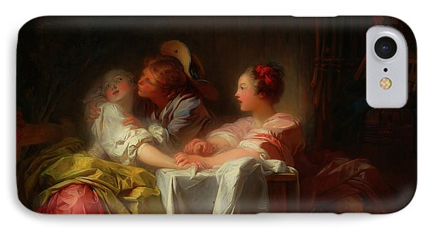 IPhone Case featuring the painting The Stolen Kiss by Jean-Honore Fragonard