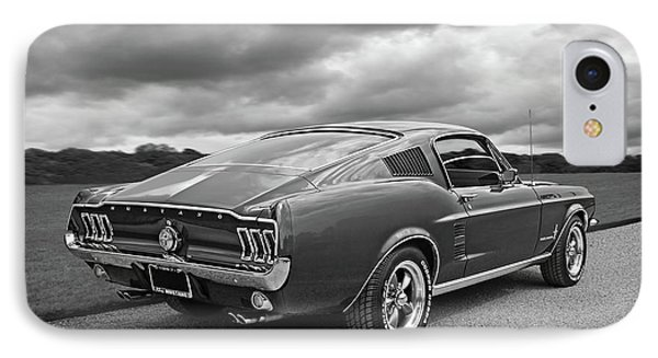 67 Fastback Mustang In Black And White IPhone Case by Gill Billington
