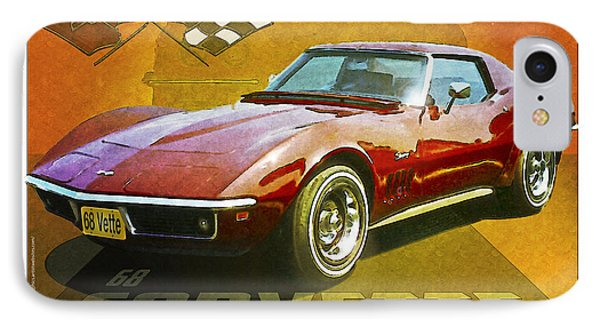 68 Corvette IPhone Case by Kenneth De Tore