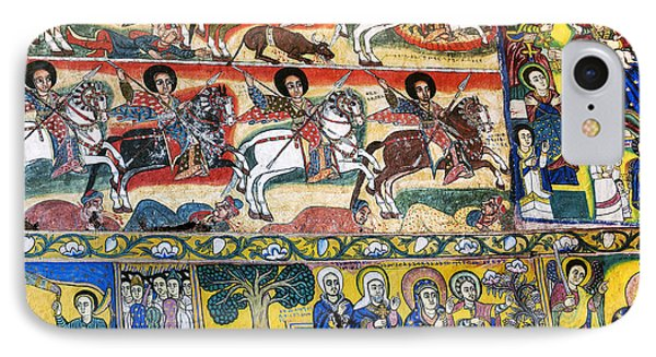 Ancient Orthodox Church Interior Painted Walls In Gondar Ethiopi IPhone Case