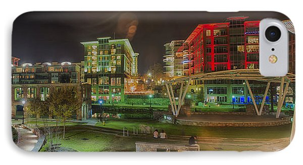 Greenville South Carolina Near Falls Park River Walk At Nigth. IPhone Case