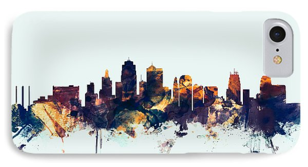 Kansas City Skyline IPhone Case by Michael Tompsett