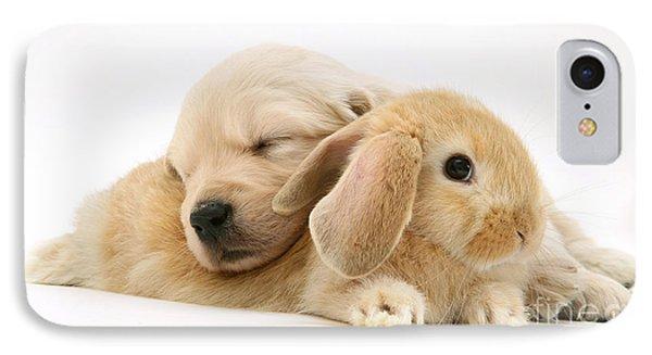 Rabbit And Puppy Phone Case by Jane Burton