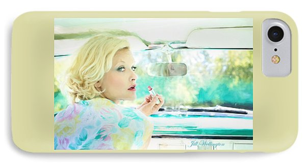 Vintage Val In The Turquoise Vintage Car IPhone Case by Jill Wellington