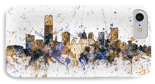 IPhone Case featuring the digital art Oklahoma City Skyline by Michael Tompsett