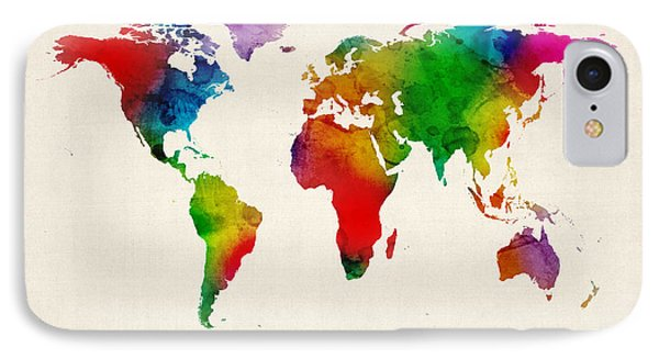 IPhone Case featuring the digital art Watercolor Map Of The World Map by Michael Tompsett