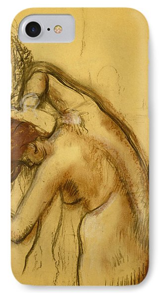 Woman Drying Herself IPhone Case by Edgar Degas