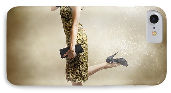 80s Pinup Woman Kicking Up Dust And Sand IPhone Case by Jorgo Photography - Wall Art Gallery