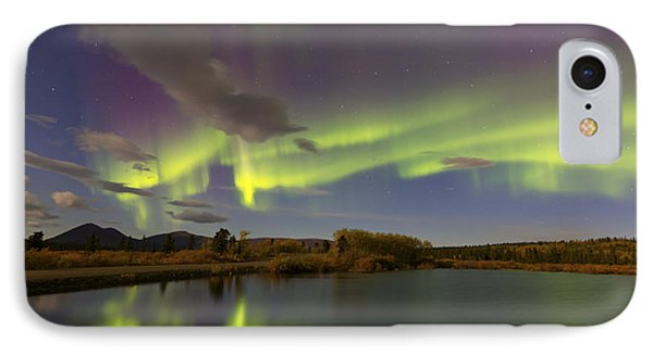 Aurora Borealis With Moonlight At Fish IPhone Case by Joseph Bradley