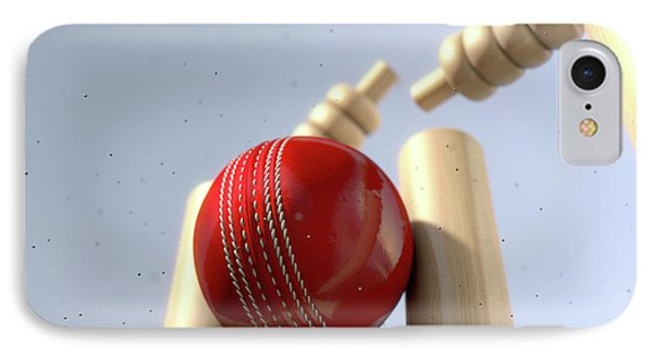 Cricket Ball Hitting Wickets IPhone Case by Allan Swart