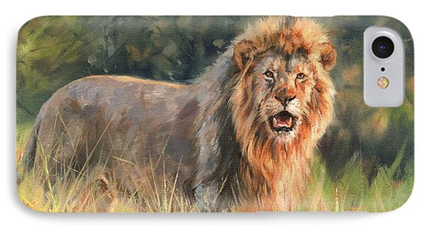 IPhone Case featuring the painting Lion by David Stribbling