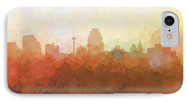 IPhone Case featuring the digital art San Antonio Texas Skyline by Marlene Watson