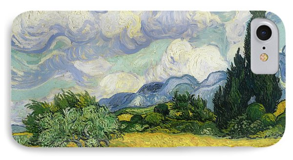 IPhone Case featuring the painting Wheat Field With Cypresses by Vincent van Gogh