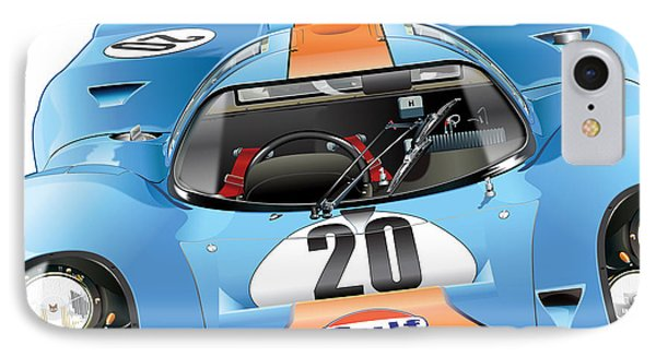 Porsche 917 Illustration IPhone Case by Alain Jamar