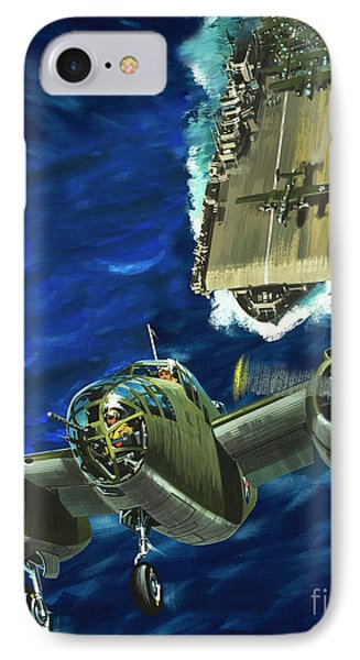 A B52 Bomber Takes Off From An Aircraft Carrier Headed For Japan In World War II IPhone Case by Wilf Hardy