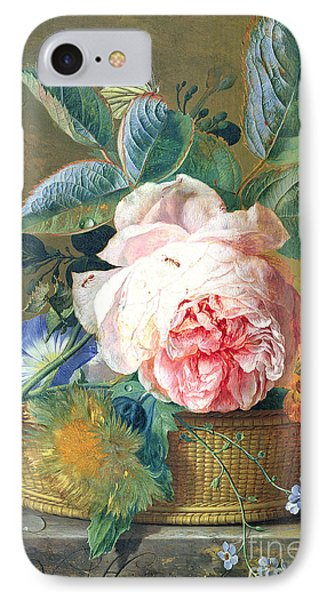 A Basket With Flowers IPhone Case by Jan van Huysum