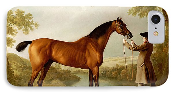 A Bay Racehorse Held By A Groom In An Extensive Landscape IPhone Case by George Stubbs
