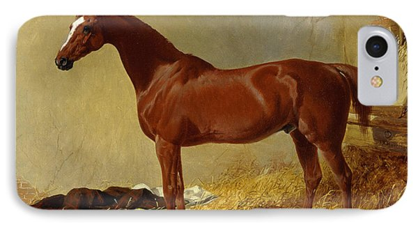 A Bay Racehorse In A Stall, 1843 IPhone Case by John Frederick Herring Snr
