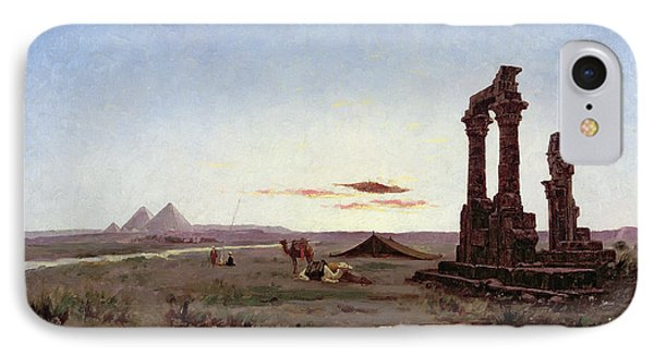 A Bedouin Encampment By A Ruined Temple  IPhone Case by Alexandre Gabriel Decamps