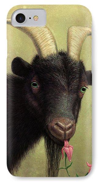 A Black Goat Enjoying A Pink Flower IPhone Case by James W Johnson