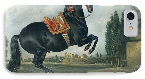 A Black Horse Performing The Courbette IPhone Case by Johann Georg Hamilton