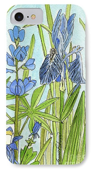 IPhone Case featuring the painting A Blue Garden by Laurie Rohner