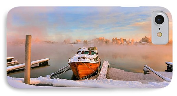 Boat On Frozen Lake IPhone Case by Rose-Maries Pictures