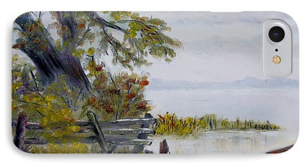 IPhone Case featuring the painting A Boat Waiting by Marilyn  McNish