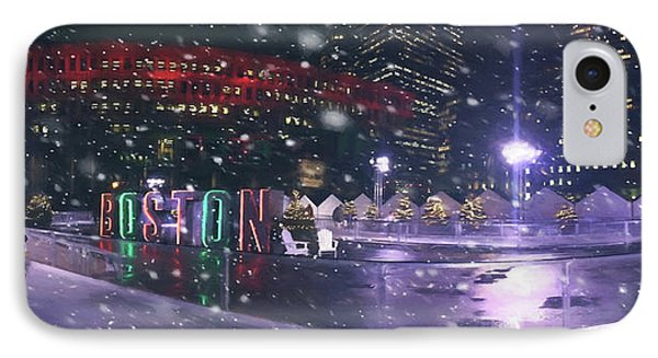 A Boston Winter - City Hall Plaza IPhone Case by Joann Vitali