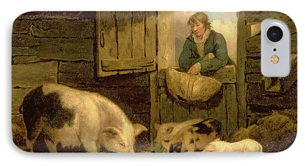 A Boy Looking Into A Pig Sty IPhone 7 Case by George Morland