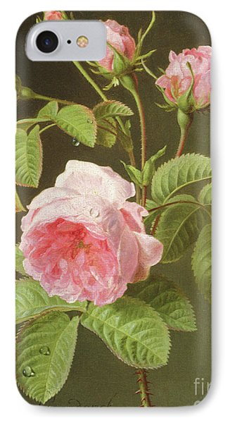 A Branch Of Roses IPhone Case by Cornelis van Spaendonck