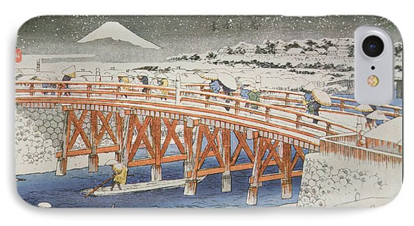 A Bridge In Yedo With Mount Fuji In The Background IPhone Case